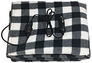 Missbee Electric Heating Blanket, 12V Lattice Fleece Car Supplies Winter Hot Car Constant Temperature Heating Blanket for Travel Camping Picnic Heater 145x100cm