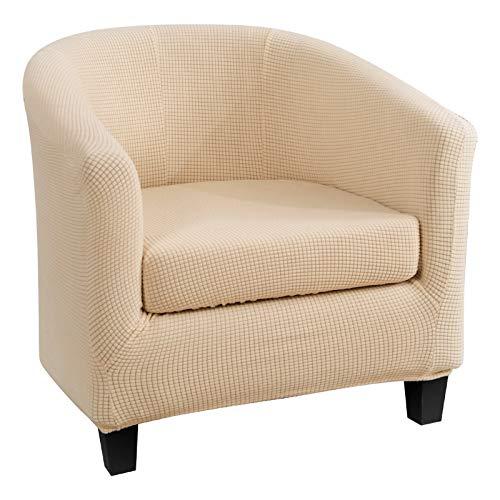 2 Stück Wannenstühle Hussen Stretch Stilvoll Sesselbezug Möbelbezug Sofa Couch Schonbezug für Wohnzimmer Rutschfeste Stuhlschutz Jacquard Sofabezug 1-Sitzer Stuhlhussen Hellgelb
