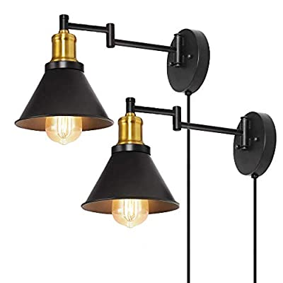 HAITRAL Wall Lamps 2 Pack-Swing Arm Wall Lamps with Brass Finish & Adjustable Arms, Plug-in & Hardwired Industrial Wall Sconces for Bedroom, Farmhouse, Kitchen (Without Switch)