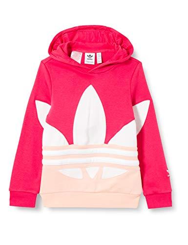 adidas Big TRF Hoodie Cappuccio, Powpnk/Hazcor/White, 7-8A Unisex-Bambini