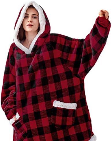 Bedsure Wearable Blanket Sherpa Blanket Hoodie Standard Blanket Sweatshirt with Deep Pockets product image
