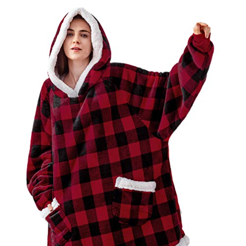 Bedsure Wearable Blanket Sherpa Blanket Hoodie Standard Blanket Sweatshirt with Deep Pockets and Sleeves for Adults Kids Teen Red Plaid
