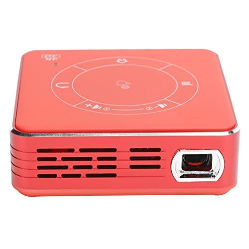 214 Mini Proyector LED,Proyector de Video WiFi Bluetooth Inalámbrico 4K Full HD,Proyector de Películas, Proyector de Cine en Casa con Control Remoto, Entrada de Tarjeta USB/TF,para Android 9.0(Rojo)