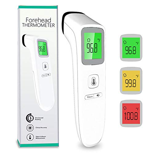 Forehead Thermometer, No Touch Digital Infrared Thermometer for Fever, Medical Temporal Multifunction Thermometer with Instant Accurate Reading, Fever Alarm and Memory Recall for Adults, Babies, Kids