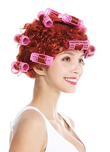 WIG ME UP ® - 4204-P350 Carnaval Halloween Peluca Mujer ama de casa rulos Rojo cobrizo Trashy Drag Queen