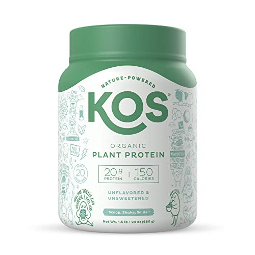 KOS Unflavored Protein Powder - Soy, Gluten and Dairy Free - Vegan, Keto Protein Powder - 1.5 Pounds, 20 Servings