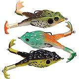 Nesloonp - Juego de 3 señuelos de pesca para ranas, aparejos de 9 cm, hélices dobles, cebos para ranas, cebos giratorios vívidos con piel suave,...