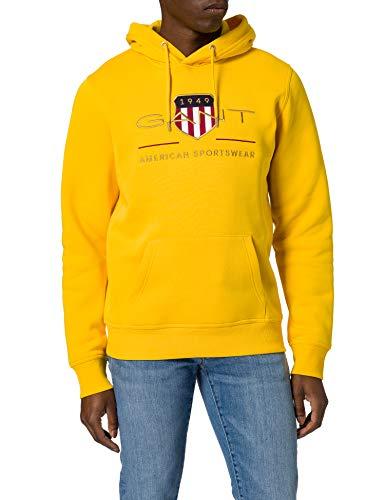 GANT Archive Shield Hoodie Sudadera con Capucha, Solar Power Yellow, M para Hombre
