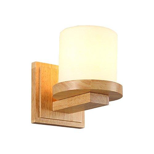 Pouluuo Applique en bois massif de style japonais Nordic log chambre salon lampe de chevet lampe murale minimaliste moderne