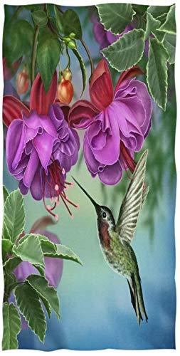 MSJXNF Toallas de baño de estilo fresco con diseño de colibríes y ramas de color fucsia vintage, muy absorbentes, grandes, multiusos para baño, hotel, gimnasio y spa (40,6 x 76,2 cm)