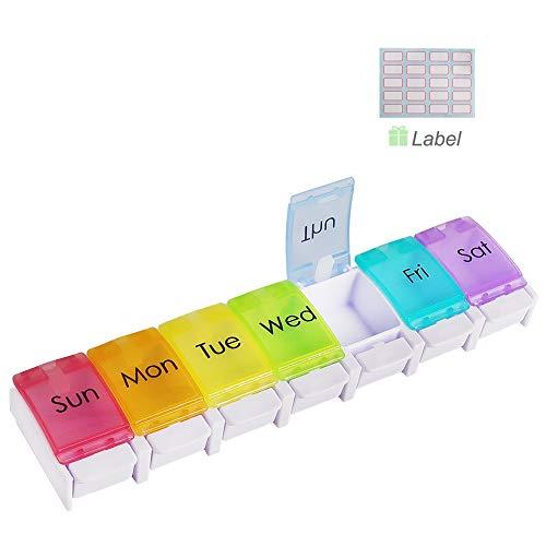 HONZUEN 7 Dagen Pillendoosje Tabletdoosje Dispenser met Label, Wekelijkse Grote Pillendoosdoos met Drukknop Vakken…