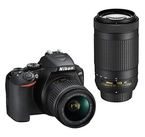 """Nikon D3500 Fotocamera Reflex Digitale con Obiettivi Nikkor AF-P DX 18–55 VR e AF-P DX 70–300 VR, 24,2 Megapixel, LCD 3"""", Nero"""