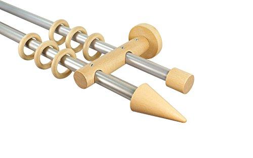 Gardinenstangen 2-läufig 16 mm aus Metall und Holz Alu/Buche Endstück Sharp, 200 cm