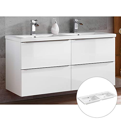 Lomadox Badmöbel Doppelwaschtisch Set in weiß Hochglanz, 121cm Doppel-Keramikwaschbecken, Waschtischunterschrank 4 Softclose-Schubkästen, B/H/T: 121/61/46 cm