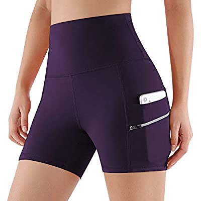 ODODOS Dual Pocket High Waist Workout Shorts,Tummy Control Yoga Gym Running Shorts,Non See-Through Yoga Shorts, Deep Purple, Large