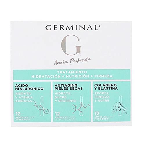 Germinal Acción Profunda 3 en 1 - Tratamiento Hidratación, Nutrición y Firmeza, con Ácido Hialurónico, Colágeno, Elastina, Aceite de Rosa Mosqueta y Vitamina E - 36 ampollas