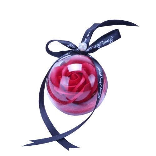 Accessoires D'Ornement Suspendus De Voiture De Boule De Fleur De Savon Rose Transparent