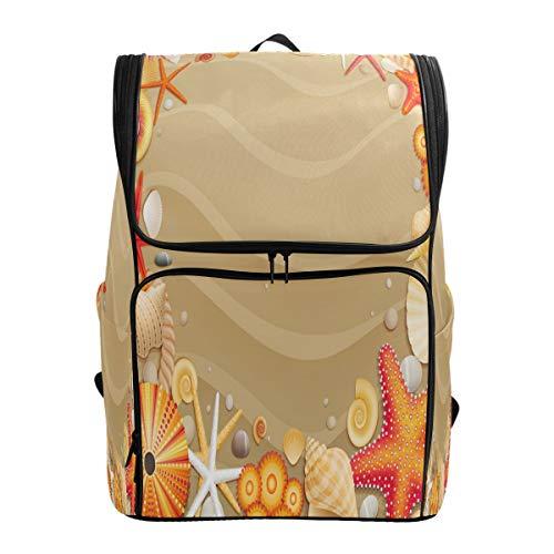 Emoya Rucksack aus Segeltuch, Tropische Strand, Sandmuscheln, Seestern, Schulranzen für Teenager Mädchen Jungen Bookbag College Schule Computer Tasche