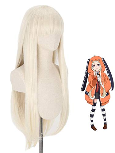LeMarnia Anime Kakegurui Yomoduki Runa Cosplay Wig Halloween Costume Wig Golden Long Wig