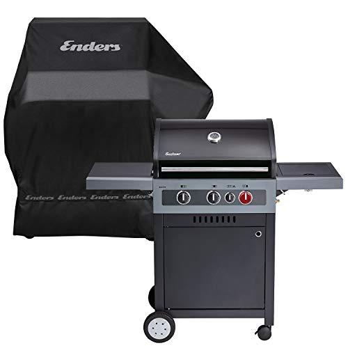 Enders Gasgrill Boston Black 3 K Turbo - BBQ - Bundle mit Wetterschutzhülle - 3 Edelstahl-Brenner stufenlos, Gas Grill mit Grillwagen, Grillhaube, Seitenkocher, Schwarz
