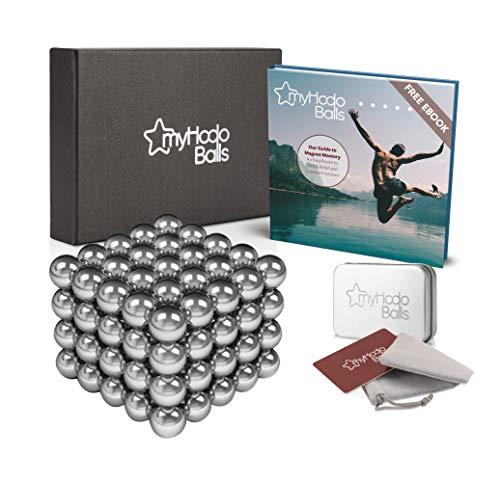 myHodo Bolas Magnéticas, 100 Bolitas Magnéticas, Imanes Pequeños Versátiles para Superficies Magnéticas, Ebook Incluido, Magnet Balls, Idea de Regalo Antiestrés, Bolas de Iman (Plata)