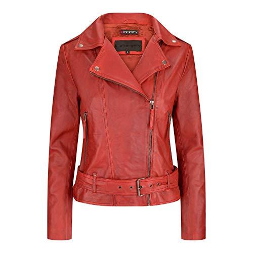 Giacca da Donna Chiodo in Vera Pelle Stile Biker Vintage con Cintura in Vita rosso S