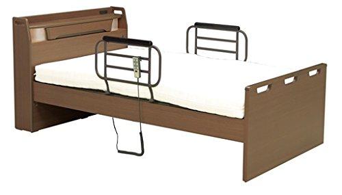 介護ベッド 電動ベッド MFB-890 ワイヤーコントローラー シングルサイズ フレーム+マットレスセット (非課税品) 2モーター (専門業者組立て, モルトブラウン)