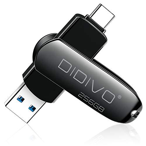 DIDIVO USB C Stick 256GB USB C Flash Laufwerk 2 in 1 USB 3.0 Typ C Speicherstick 256GB tragbarer OTG USB Stick Pen Laufwerk Externer Speicher für USB C Smartphones,Tablets und Neue MacBook Laptops,PC