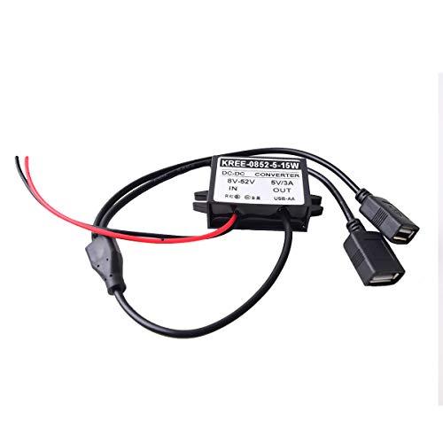 Kfz Dual USB Female Ladebuchse DC 12/24V zu 5V Auto/LKW/Fahrzeug Direkte auf Akku HardWire Festverkabeltes Kabel Ladekable für iPhone Samsung Handy Auto-DVR Dashcam GPS Tablet (8-52V breites spektrum)