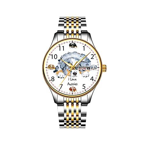 Reloj de hombre de cuarzo japonés con fecha de acero inoxidable y correa dorada