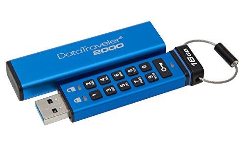 Kingston DataTraveler 2000 DT2000/16GB - Memoria USB 3.0 de 16 GB cifrada con Teclado, Tipo Llave, Sin Especificar