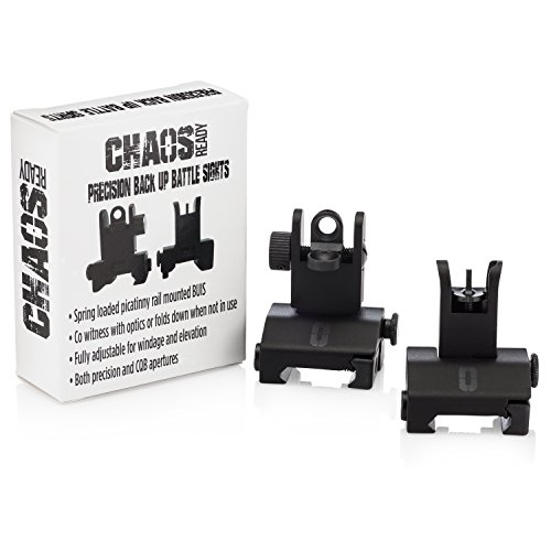 Chaos Ready | Flip Up Iron Sights - Spring Loaded Low Profile Back up Ironsights | Designed for Picatinny 1913 Pattern Rails | Co-Witness Front and Rear BUIS Combo Set |