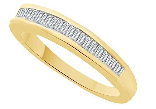 Anillo de boda de talla baguette de diamante natural blanco en oro de 9 quilates (0,15 quilates), Diamond,