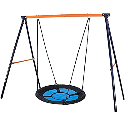 """SUPER DEAL Swing Set, 40"""" Kids Web Tree Swing Saucer Swing + 72"""" All-Steel All Weather Stand Combo (Blue, XXL) from SUPER DEAL"""