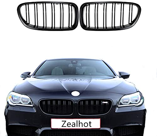 F10 Grille,Front Replacement Kidney Grille Grill Compatible With 2010-2017 5 Series F10 F11 F18 M5 (Gloss Black)