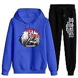 CAPINER Adult to-kyo G-ho-ul Ka-ne-ki Tracksuit Sets Hoodies Sweatsuit Sweatpants Outfit Sweater Set for Women Men Women-2XL/Men-XL Blue and Black