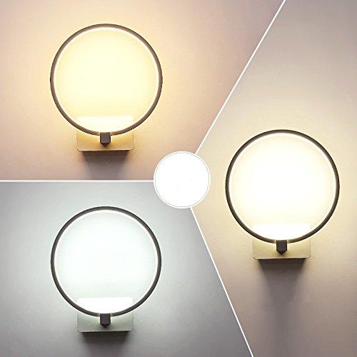 Creative Led moderne minimaliste mur de chevet chambre à coucher Lampe lumière escalier Couloir Couloir Art blanc lampe,24 * 21cm,14 Watts éclairage réglable 3-couleurs