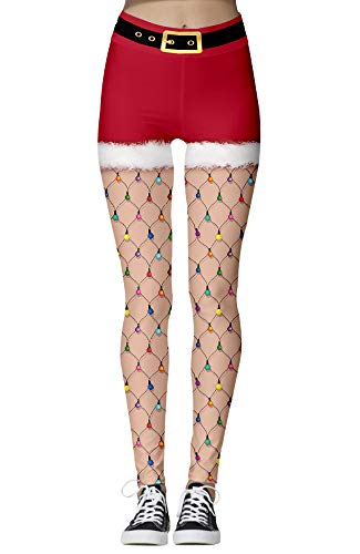 Nuofengkudu Mujer Estampados Leggins Navidad Talle Alto Colores Elasticos Seamless Opacos Mallas Yoga Fitness Pantalon Cosplay Partido Casuales(Patrón 26,XL)