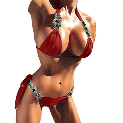 Neckholder Bikini Damen Push-Up gepolsterter Bling Bling Crystal Badeanzug GreatestPAK,Rot,M