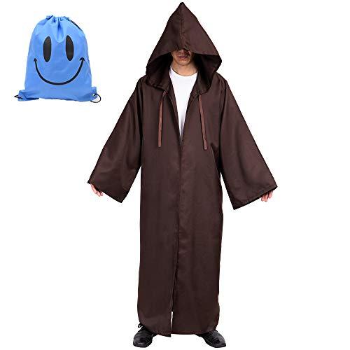 Myir JUN Mantello con Cappuccio per Adulti, Costume da Halloween Carnevale Robe Adulto Uomo Mantello Medievale Cosplay (XL, Marrone)