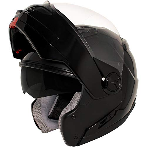 Hawk ST 1198 'Transition' 2 in 1 Glossy Black Modular Motorcycle Helmet - X-Large