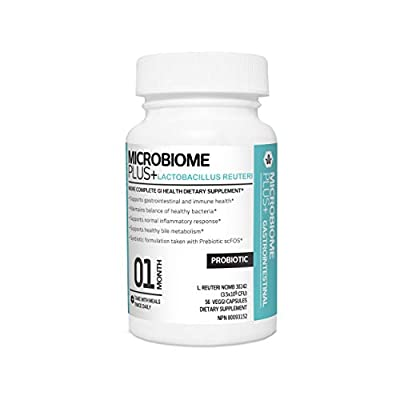 Microbiome Plus Gastrointestinal Probiotics L Reuteri NCIMB 30242 GI Digestive Supplements, Allergy Safe & Gluten Free for Men and Women (1 Month Supply)