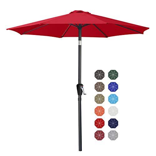 ABCCANOPY 230cm Sonnenschirm im Freien Wasserabweisende Bespannung -Gartenschirm Marktschirm,Rot