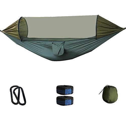 HOUSEHOLD Toile Hamac Portable Jardin Balançoire Campi Hamac Parachute Tissu Hamac Net avec moustiquaire extérieur Camping hamac Tente approprié for la Plage Voyage de Camping (Color : Army Green)
