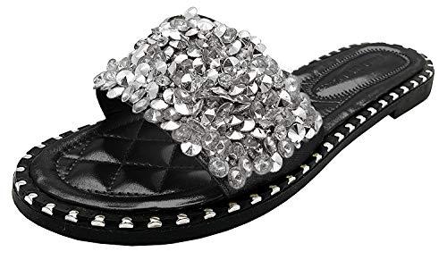 Wild Diva Women's Open Toe Fashion Flat Sandal Rhinestone Slip-On Flip Flop (10 M US, Black PU)