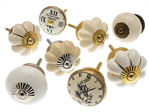 Lot mixte de 8 boutons de placard en céramique crème et doré MG-708 – 'Produit enregistré Mango Tree TM