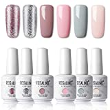 ROSALIND 15ml Esmaltes Semipermanentes de Uñas en Gel UV LED, Nude Pink Series 6 Colors Diseño de...