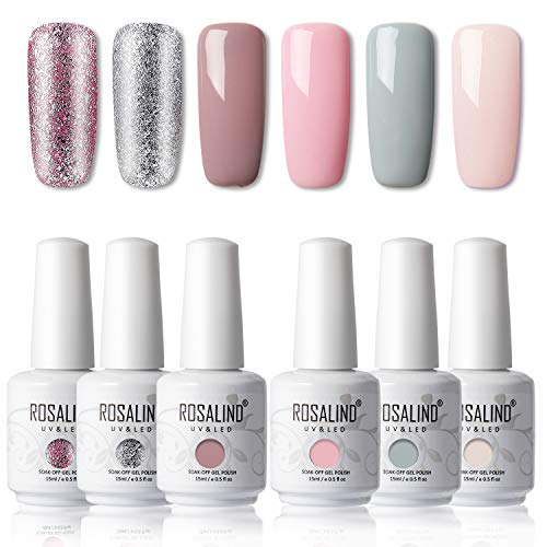 ROSALIND 15ml Esmaltes Semipermanentes de Uñas en Gel UV LED, Nude Pink Series 6 Colors Diseño de uñas Gift Box