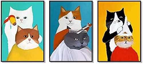 aksldf 動物猫床屋キャンバス絵画北欧スタイルの子供の装飾壁アート画像保育園ベビールームのポスターとプリント 60 × 80 センチメートル × 3 非フレーム