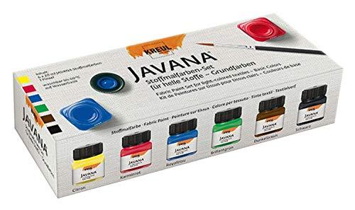 Kreul 90600 - Javana Stoffmalfarbe für helle Stoffe, Grundfarbenset, brillante Farbe mit cremigem Charakter, nach Fixierung waschbeständig, 6 x 20 ml Farbe und ein Pinsel